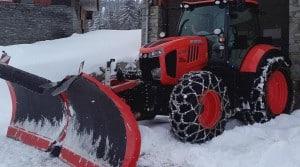 Kubota M7 lame à neige deneigement pneux chaines