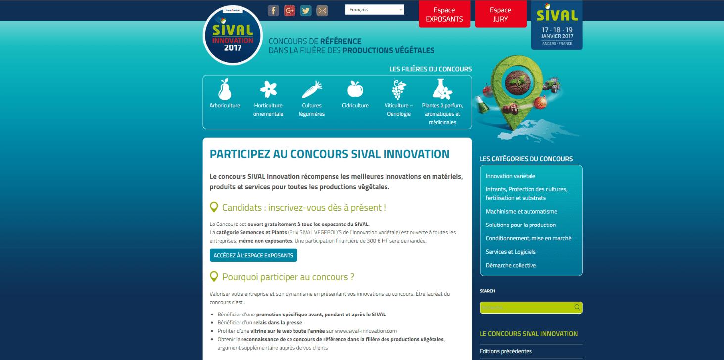 Capture d'écran du site Sival.com