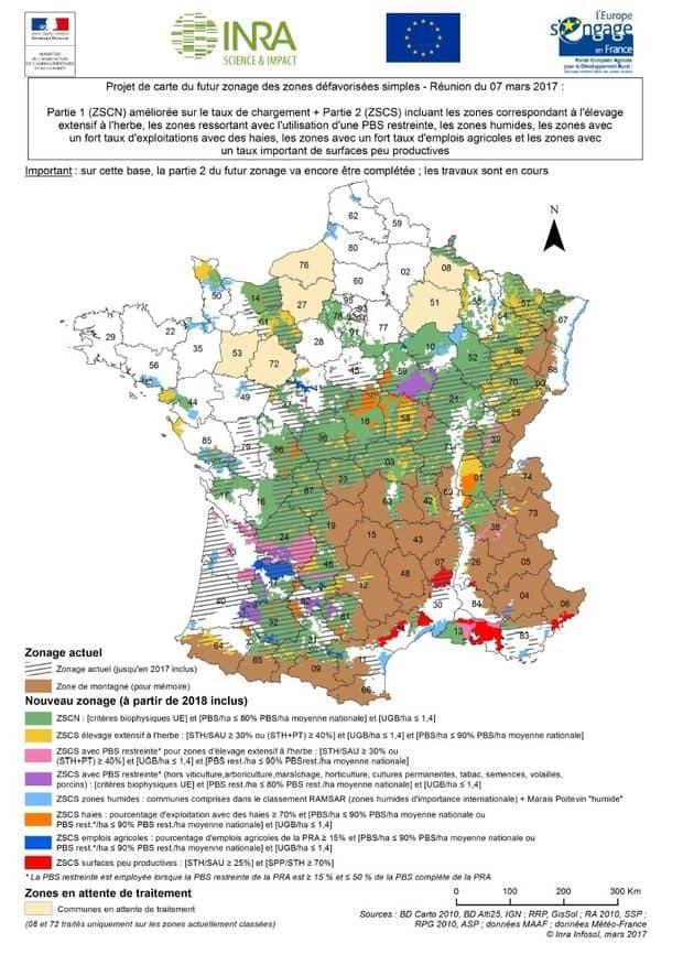 AFP Nouvelle carte des zones agricoles défavorisées.