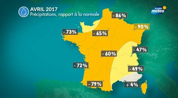 carte deficit pluvio avril 2017