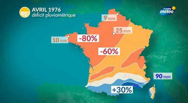 carte déficit pluviometrie avril 1976