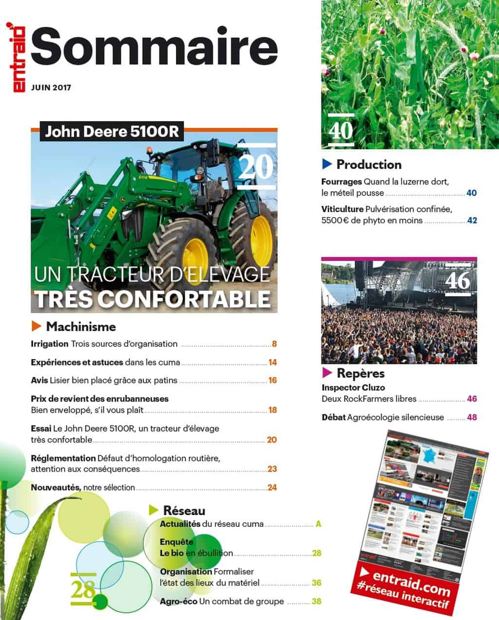 Sommaire-magazine-Entraid-juin-2017-machinisme-expériences-astuces-cuma-essai-John-Deere-réglementation