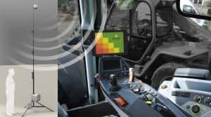 A la base du système, un capteur d'images travaille pour fournir des données qui servent à élaborer une cartographie présentée au chauffeur de l'engin tasseur