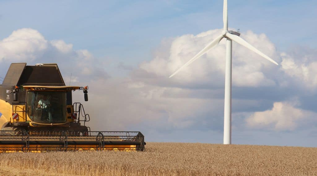 La moissonneuse batteuse à rotor NH CR8.90 de la cuma de Treffendel en action dans le blé