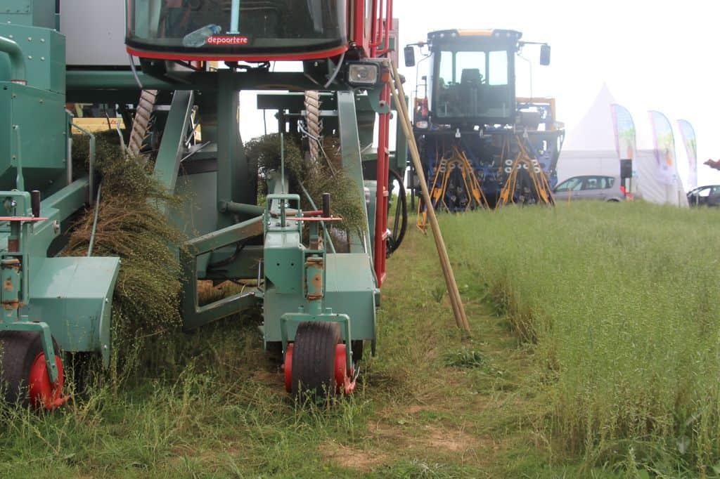 lin-fibre-textile-agriculture-balle-ronde-récolte-salon-aux-champs-arracheuse
