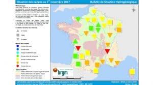 Nappes phréatiques : niveaux bas voire très bas des cours d'eaux dus au manque de précipitations en ce début d'automne. ©BRGM