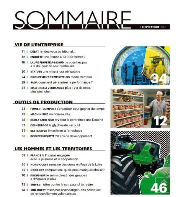 Sommaire Entraid magazine novembre 2017 : fumier, quelle organisation choisir ?