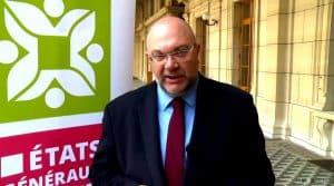 Stéphane Travert, ministre de l'agriculture française et emmanuel Macron dressent le premier bilan des annonces des États Généraux de l'Ailmentation.