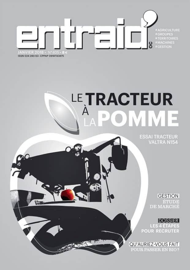 """Couverture entraid magazine 2018 janvier """"Le tracteur à la pomme"""""""