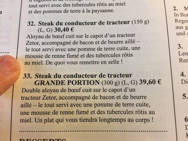 menu du restaurant Zetor