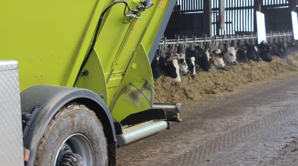 La désileuse Storti de la cuma des trois fibres en Mayenne distribue les rations aux laitières de Jonathan Garnier.