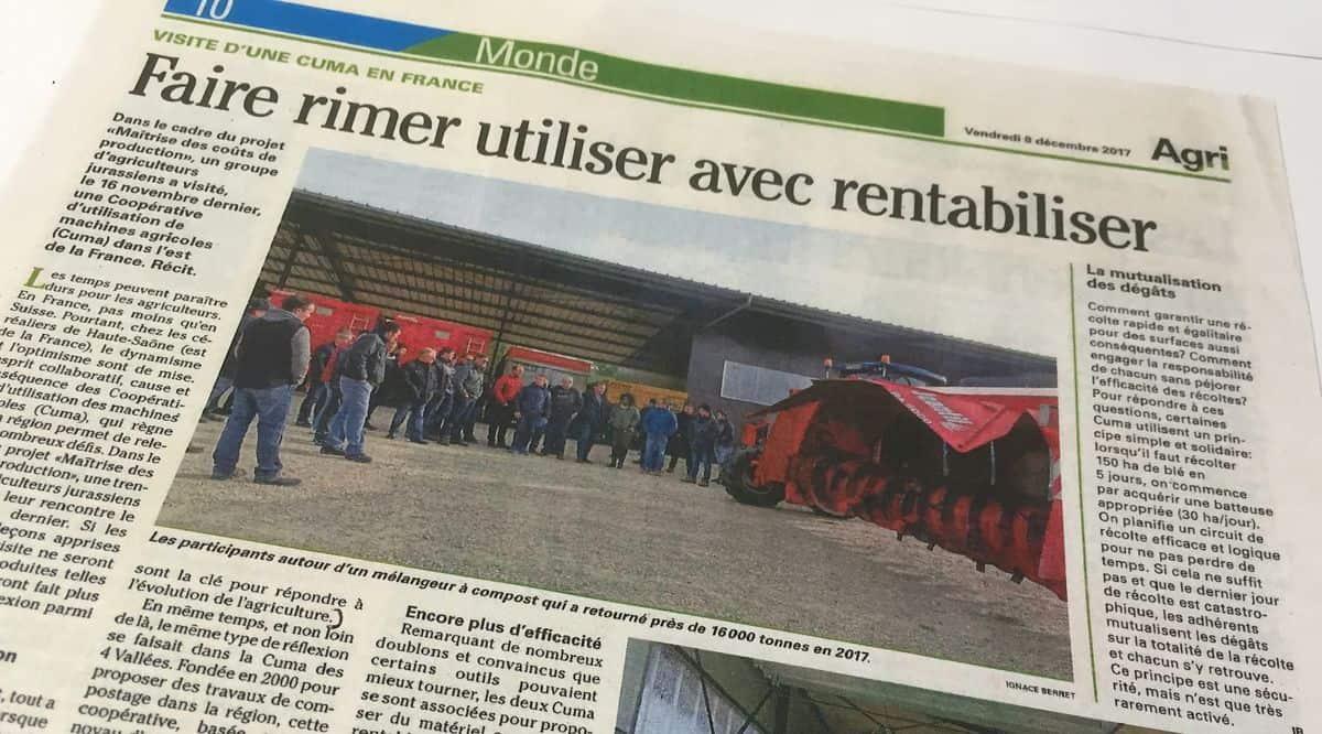 Le journal suisse AgriHebdo a publié le compte-rendu détaillé de la visite de la délégation d'agriculteurs suisse dans ces deux cuma de Haute-Saône.