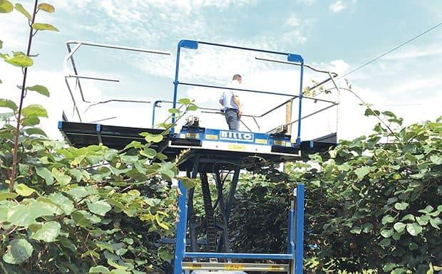 Investissement de la cuma de la Sorde dans la Plateforme élevatrice Billo pour la conduite des pieds de kiwi.
