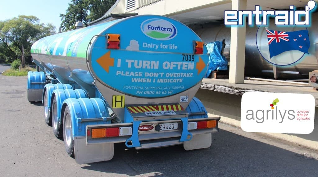 Fonterra coopératives laitières Nouvelle Zélande : Camion Fonterra de collecte du lait en Nouvelle-Zélande