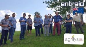 filière laitière Nouvelle Zélande : le groupe formé pour la formation enNouvelle-Zélande en janvier 2018 rencontre un éleveur laitier.