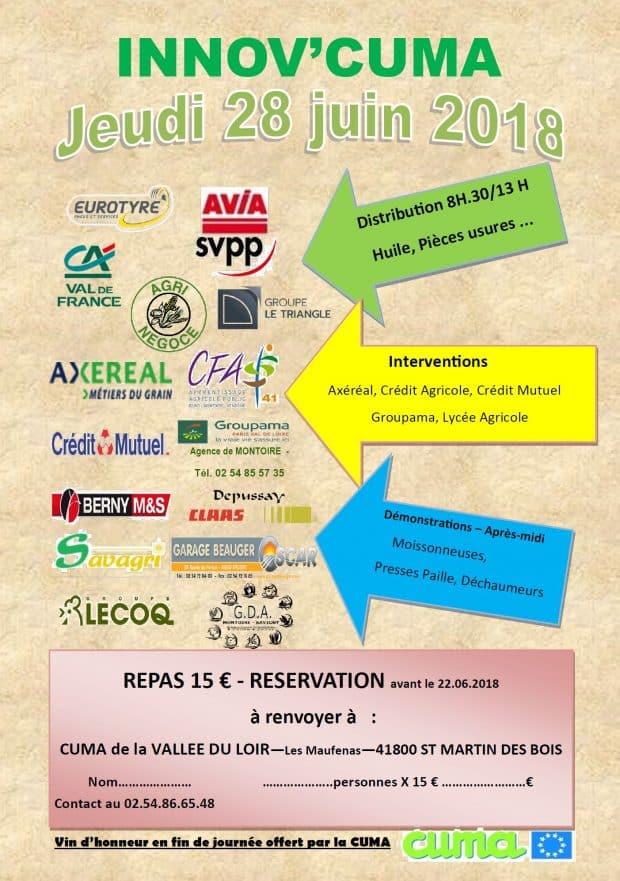 Découvrez le programme de la journée Innov' cuma organisée par la cuma de la Vallée du Loir (Loir et Cher)