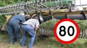 réglementation routière 80 km/h agriculture Ensileuse en panne.
