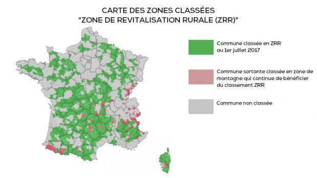 Embauche salarié carte des zones de revitalisation rurale