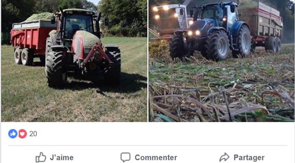Les ensilage de maïs, un post facebook qui relate l'ensilage sur le territoire de Belfort