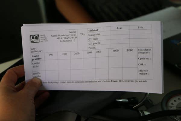 Un document qui résume le résultat des dépistages effectués par la MSA.