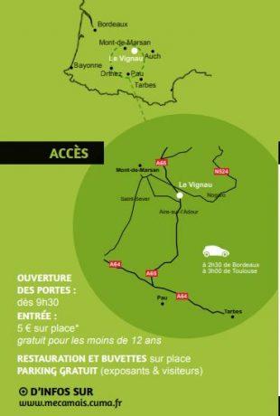 Plan d'accès à l'événement Mécamaïs 2018.