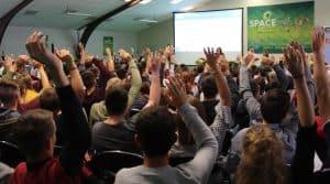 salle de conférence pleine pour la filière lait néozélandaise au Space