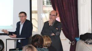 Grand débat des coopératives. Dominique Chargé Président de Coop de France, à gauche, au côté d'Arnaud Degoulet, Vice-Président : il faut retrouver du dialogue avec les adhérents, du débat, se réexpliquer sur les enjeux de demain, sur la façon dont la coopérative peut répondre à leurs attentes.