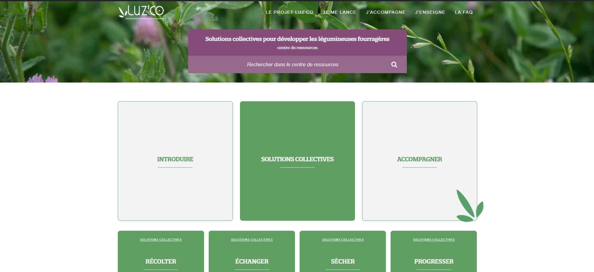 légumineuses : la page d'accueil du centre de ressources luz'co
