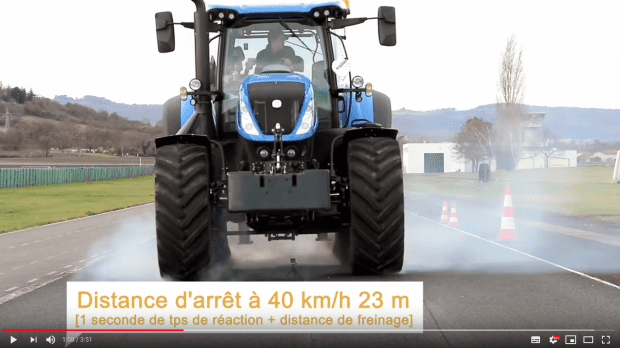 essai exclu freinage urgence tracteur now holland