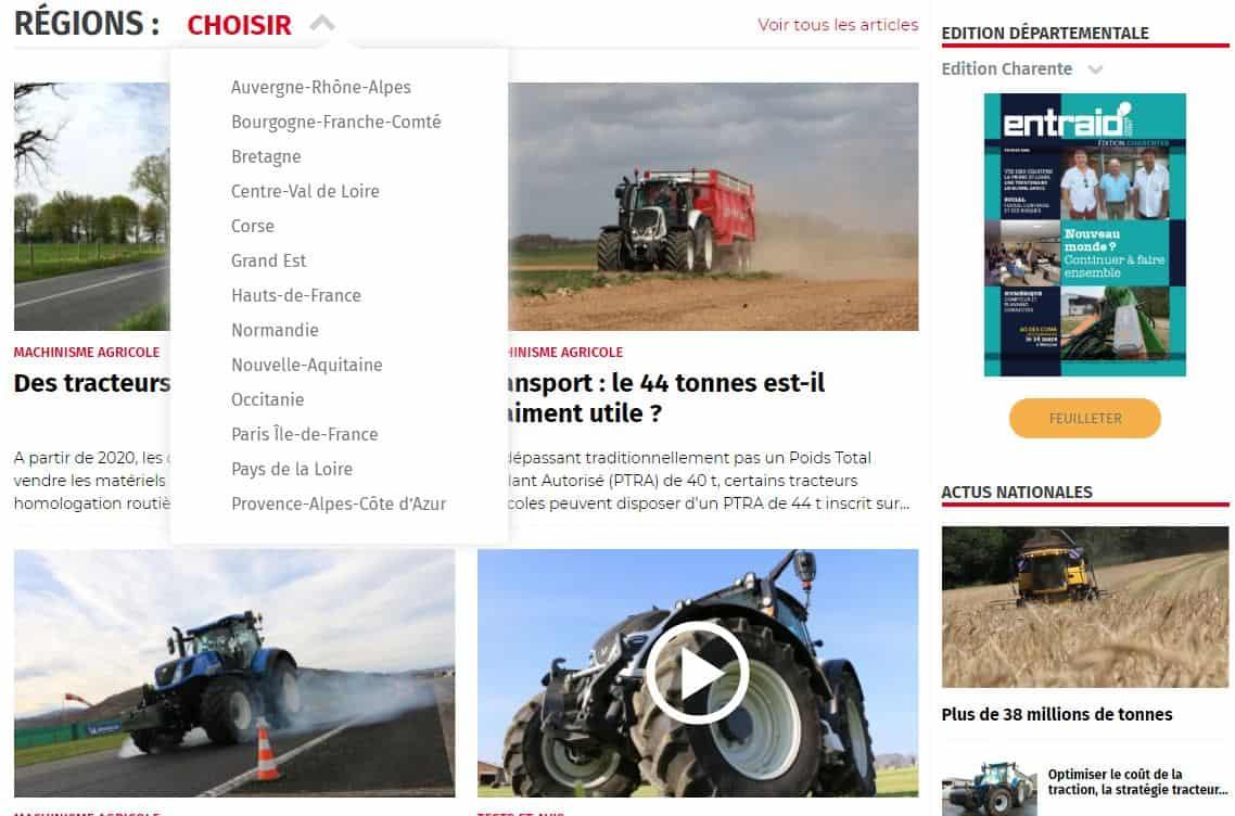 Site régional entraid.com l'information régionale agricole.