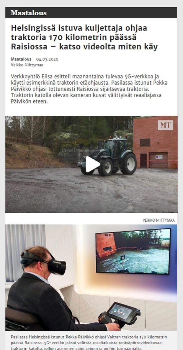 tracteur Valtra télécommande Elisa 5G