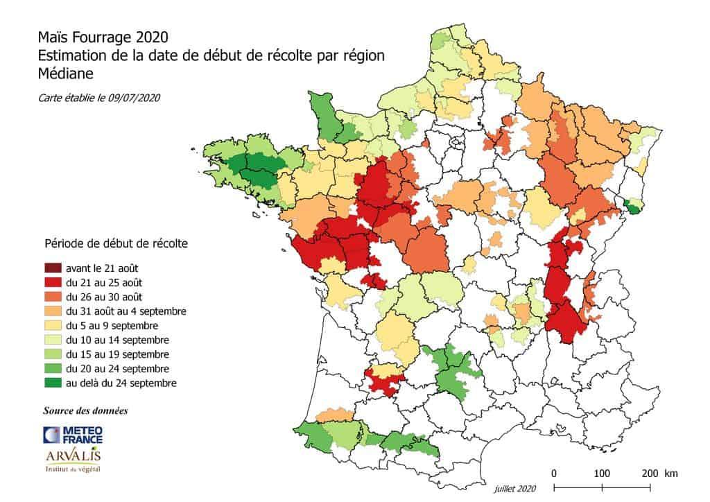 Carte prévisionnelle 2020 n°1 des dates de récolte