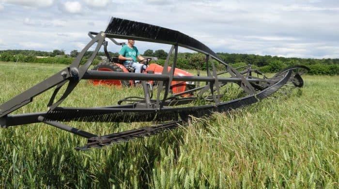 écimeuse dans un champ de céréales dans l'Eure