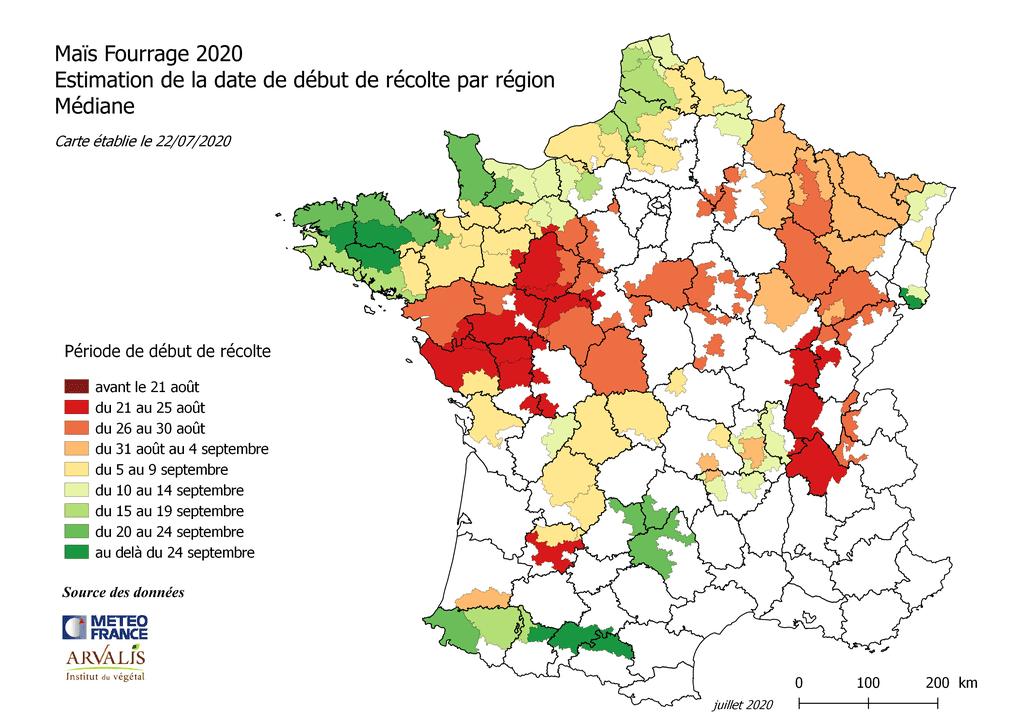 la carte établie au 22 juillet à partir des données de Météo France et Arvalis