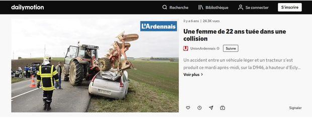 accident routier avec charrue