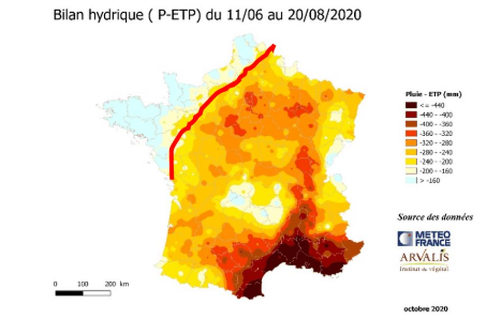 carte météo France et Arvalis du stress hydrique en 2020
