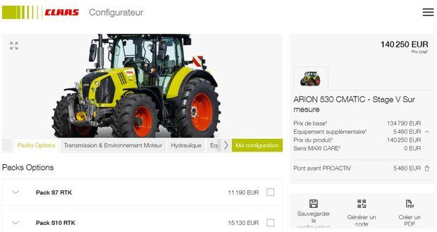 configurateur claas achat tracteur