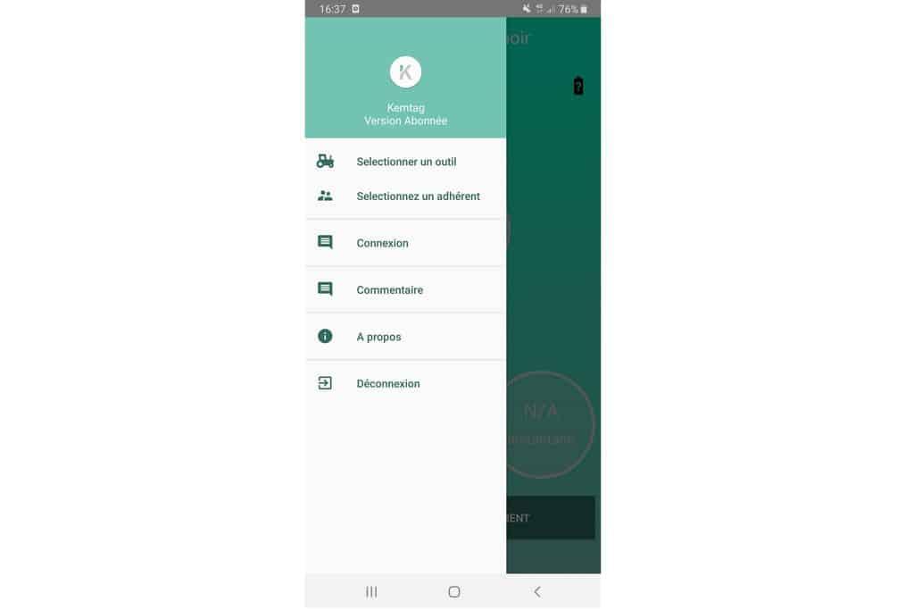 Capture écran de l'application Kemtag