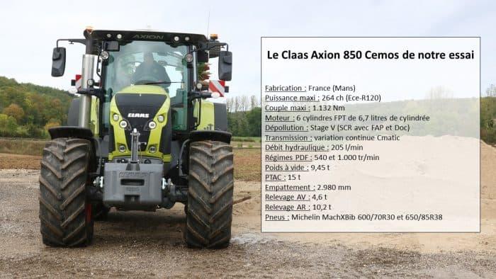 essai du Claas Axion 850 Cemos