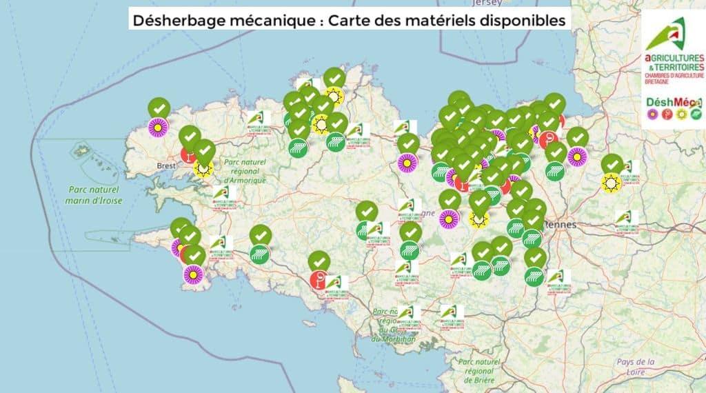 capture d'écran carte des matériels