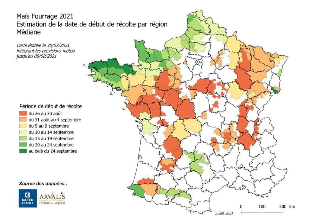 carte n°2 d'arvalis et météo france en 2021 démarrage des ensilages de maïs 2021