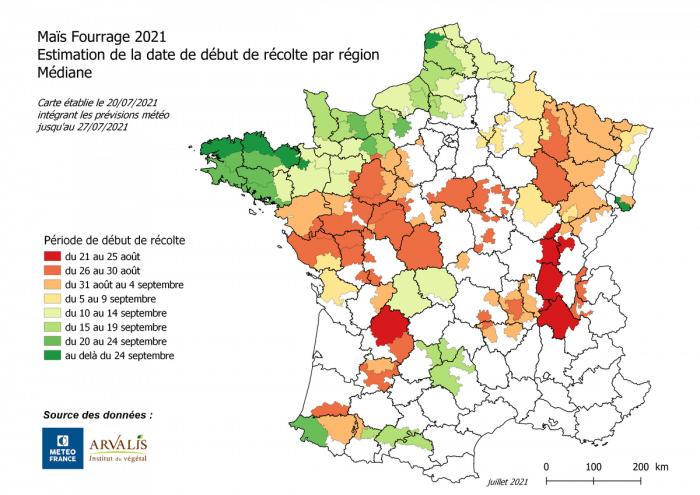 carte des dates de récolte du maïs fourrage 2021