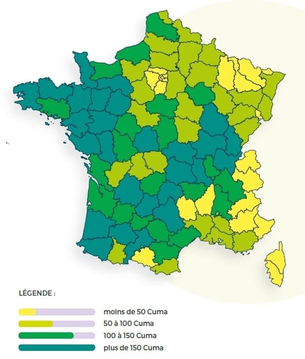 carte densité des cuma en France