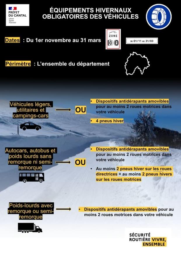 affiche équipement hivernal Cantal